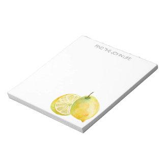 Zitronen-Entdeckungs-Freude im Notizblock