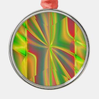 Zitronen-Neongrün des modernen Farbblockes Silbernes Ornament