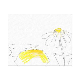 Zitronen-und Gänseblümchen-weiße gelbe Leinwanddruck