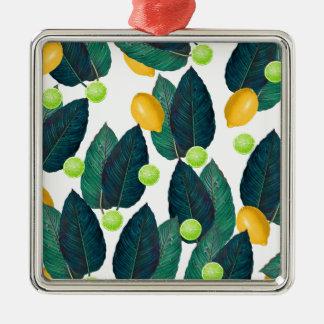 Zitronen und Kalke Quadratisches Silberfarbenes Ornament