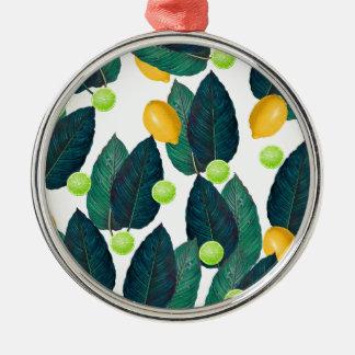 Zitronen und Kalke Rundes Silberfarbenes Ornament