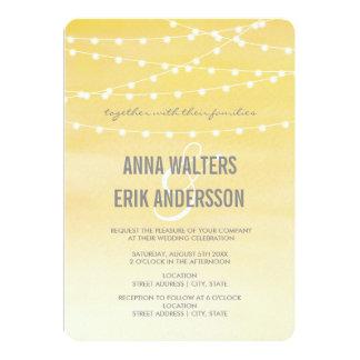 Zitronengelbe Aquarell-Schnur-Lichter 12,7 X 17,8 Cm Einladungskarte