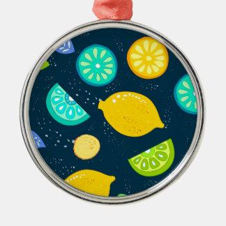 Zitronenmuster Rundes Silberfarbenes Ornament