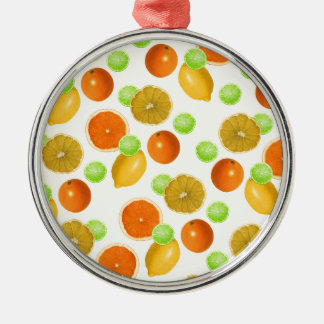 Zitrusfrucht-Pop Rundes Silberfarbenes Ornament