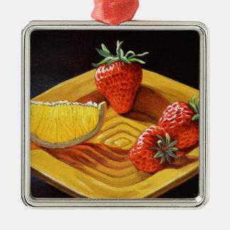 Zitrusfrucht-saftige Erdbeerorange Quadratisches Silberfarbenes Ornament