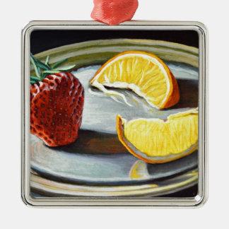 Zitrusfrucht-saftige Erdbeerorangen-Nr. 2 Quadratisches Silberfarbenes Ornament