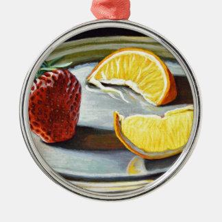 Zitrusfrucht-saftige Erdbeerorangen-Nr. 2 Rundes Silberfarbenes Ornament
