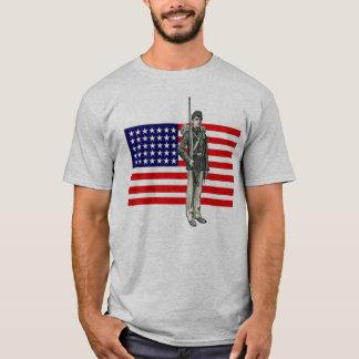 Ziviler Kriegs-Soldat mit Gewerkschafts-Flagge T-Shirt