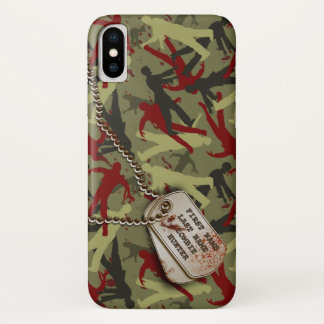 Zombie-Camouflage mit Hundeplaketten iPhone X Hülle