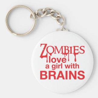 Zombie-Liebe ein Mädchen mit Gehirnen! Standard Runder Schlüsselanhänger