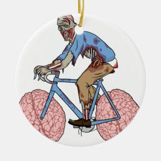 Zombie-Reitfahrrad mit Gehirn-Rädern Keramik Ornament