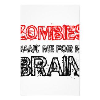 Zombies wollen mich für mein Gehirn Büropapiere