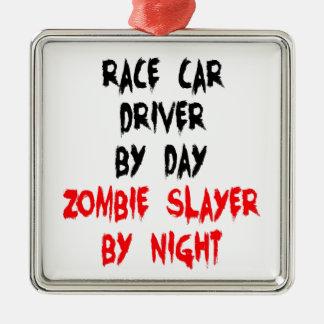 Zombieslayer-Rennwagen-Fahrer Silbernes Ornament