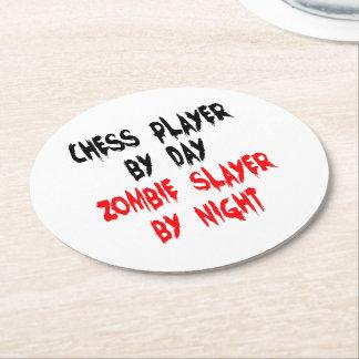 Zombieslayer-Schach-Spieler Runder Pappuntersetzer