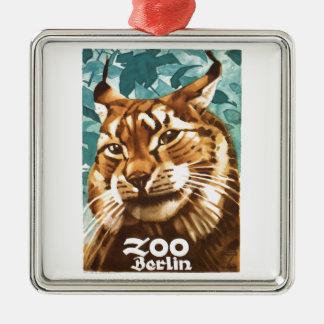 Zoo-Luchs-Plakat 1930 Ludwigs Hohlwein Berlin Quadratisches Silberfarbenes Ornament