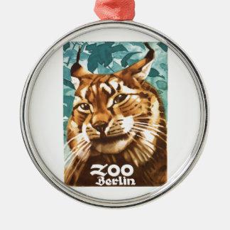 Zoo-Luchs-Plakat 1930 Ludwigs Hohlwein Berlin Rundes Silberfarbenes Ornament