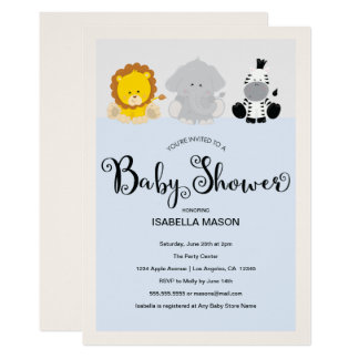 Zoo-Tier-Babyparty-Einladung Karte