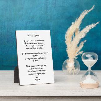 """""""Zu den Eltern des Bräutigams"""" Gedicht-Plakette Fotoplatte"""