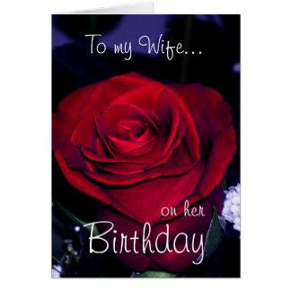 Zu meiner Ehefrau auf ihrer Geburtstag-Roten Rose Karte