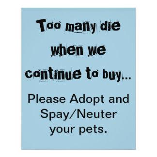 Zu viele die… bitte adoptieren und Spay/sächliche 11,4 X 14,2 Cm Flyer