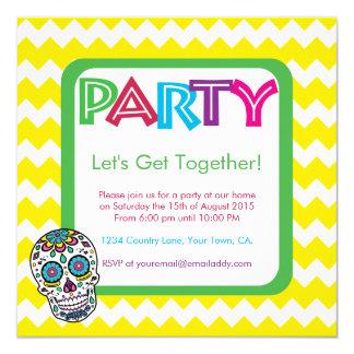 Zuckerschädel-FarbParty Einladung