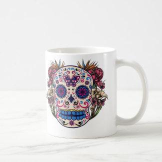 Zuckerschädel-Rosa-Rosen-mehrfarbige Blumen Tasse