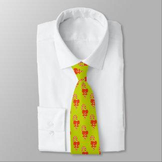 Zuckerstange mit rotem Band auf Limonem Grün Individuelle Krawatten