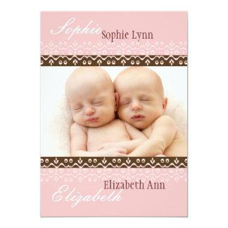 Zuckerwatte-Foto-Geburts-Mitteilung 12,7 X 17,8 Cm Einladungskarte
