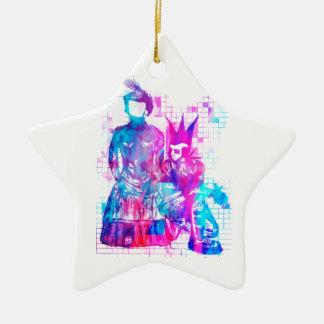 Zuckerwatte Goth Mädchen und Punk-Typ Keramik Stern-Ornament