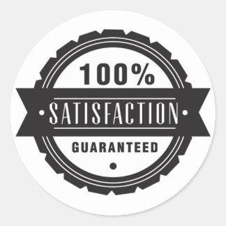 Zufriedenheit garantiert runder aufkleber
