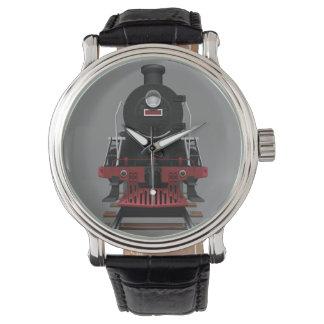 Zug-Motor-Vintage Eisenbahn irgendein Farbgesicht Armbanduhr