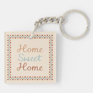 Zuhause-süßes Zuhause u. Karos blaue Crm Schlüsselanhänger