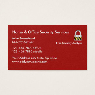 Zuhause-und Geschäfts-Sicherheits-Dienstleistungen Visitenkarte