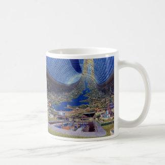 Zukünftige Raum-Kolonien Retro Vintager Kitsch Sci Kaffeetasse