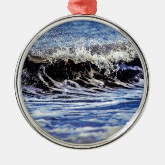 Zusammenstoßende Welle Rundes Silberfarbenes Ornament