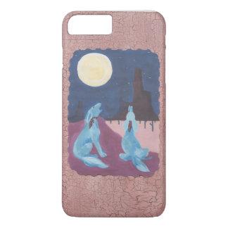 Zwei blaue Kojoten, die am Mond heulen iPhone 8 Plus/7 Plus Hülle