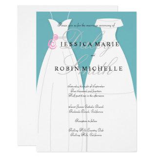 Zwei Braut-Hochzeits-Kleiderlesbische Hochzeit 12,7 X 17,8 Cm Einladungskarte