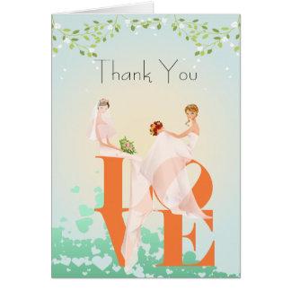 Zwei Bräute LIEBE Lesbe danken Ihnen Grußkarte