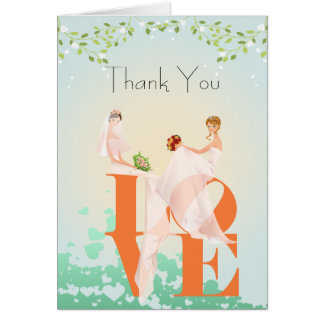 Zwei Bräute LIEBE Lesbe danken Ihnen Karte