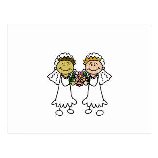 Zwei Bräute mit Blumen - Interracial Asiat Postkarte
