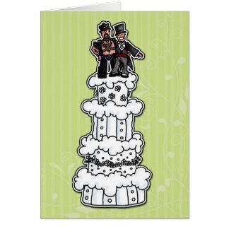 Zwei Bräutigame auf Hochzeitstorte (lederner Vati) Grußkarte