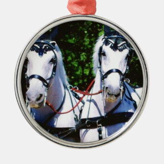 Zwei Grau Percherons Silbernes Ornament