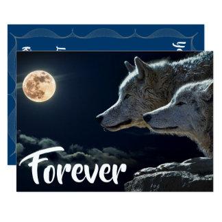 Zwei graue Wölfe u. Vollmond-Hochzeit Karte