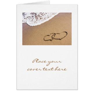 Zwei Herzen im Sand Mitteilungskarte