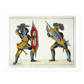 Zwei kämpfende Ritter, Platte von 'einer Postkarte