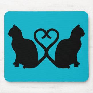 Zwei Katzen-Herz-Silhouette Mousepad
