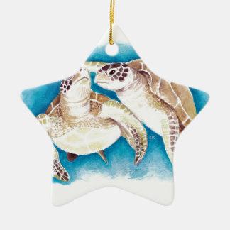 Zwei Meeresschildkröten Keramik Ornament