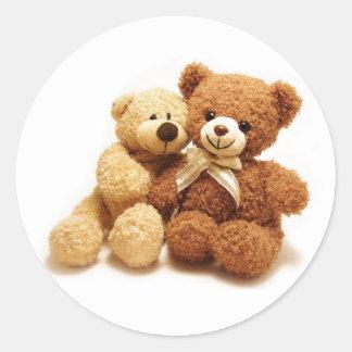 Zwei niedlicher Teddy-Bärn-Entwurf Runder Aufkleber