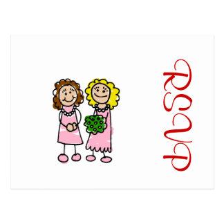 Zwei rosa Bräute Postkarte