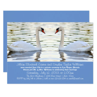 Zwei Schwan-Foto - Hochzeits-Mitteilung 12,7 X 17,8 Cm Einladungskarte